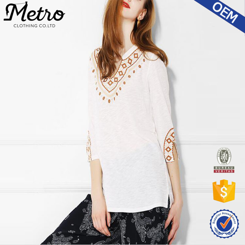 Cotton And Polyester Blend Lady Embroidered Blouse White Custom Logo