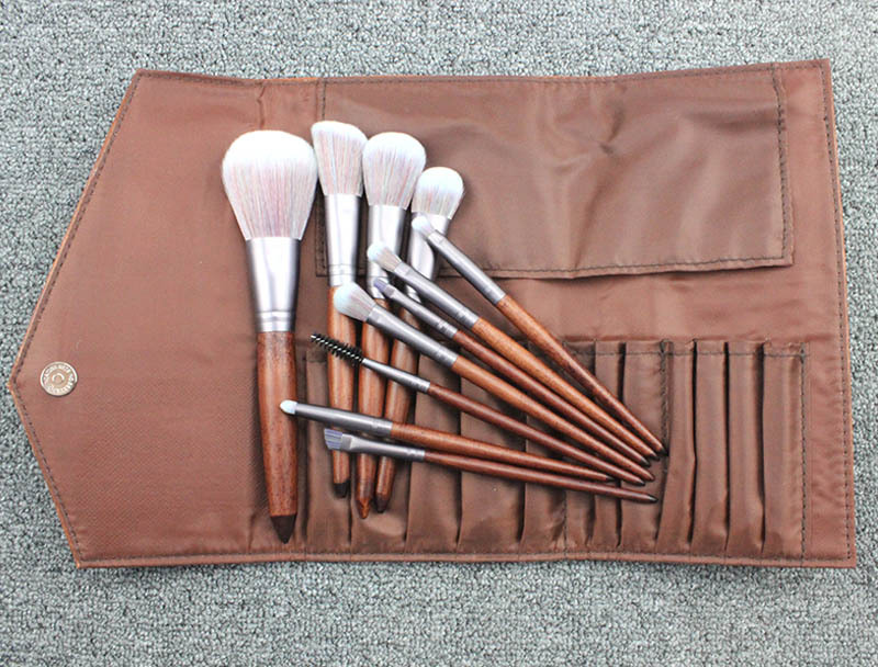 11 PCs Make Up Brush Premium Cosmetics Foundation Blending Blush Eyeliner Face Powder Makeup Brushes Kit  with pu bag