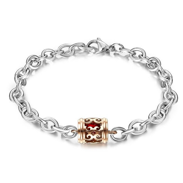 Hot Selling Fashion Rose Gold Hollow Flower Beads Chain Birthstone Bracelet Valentine Jewelry