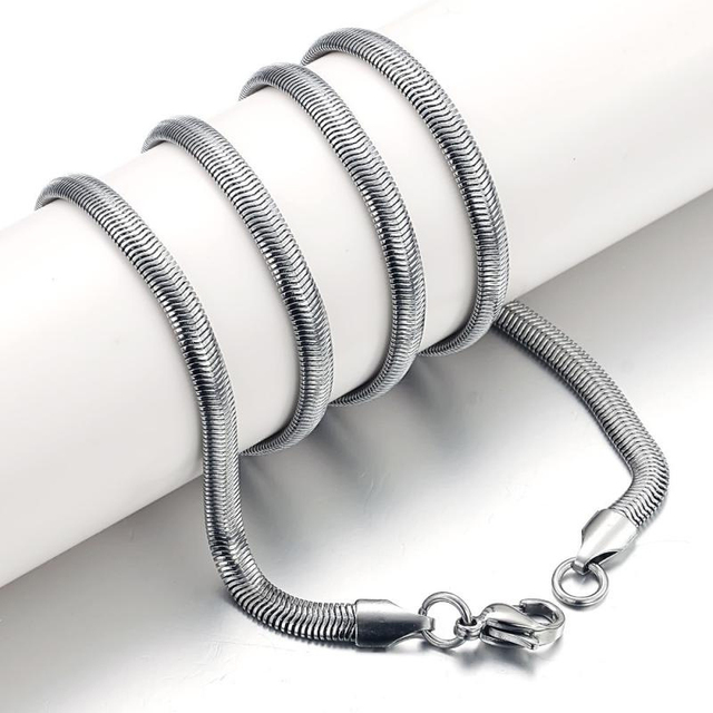 1.5mm/4.0mm/5.0mm/6.0mm Mens Womens Stainless Steel Flat Snake Necklace Chain Link Biker