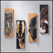 High Quality Resin 3D Animal Wall Decor With Set Of Four Resin Animal Elephant Deer Eagle OX For Indian Gift Items