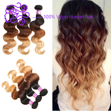 Wholesale Cheap Price Ombre T1B/4/27 100% Human Hair 3 pcs Virgin Hair Bundles 3 Tone Color Ombre Hair