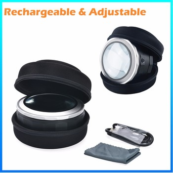 DH-86019 2017 High Quality Hot Selling Custom Reading Magnifying Glass,Fashion Adjustable 3 Led Light Desktop Magnifier