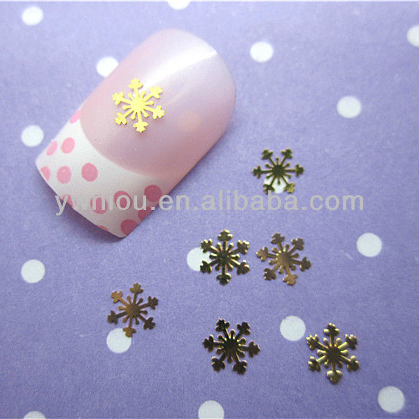 20PCS Gold Snow Nail Art Decoration Acrylic Tips Metal Slice Sticker