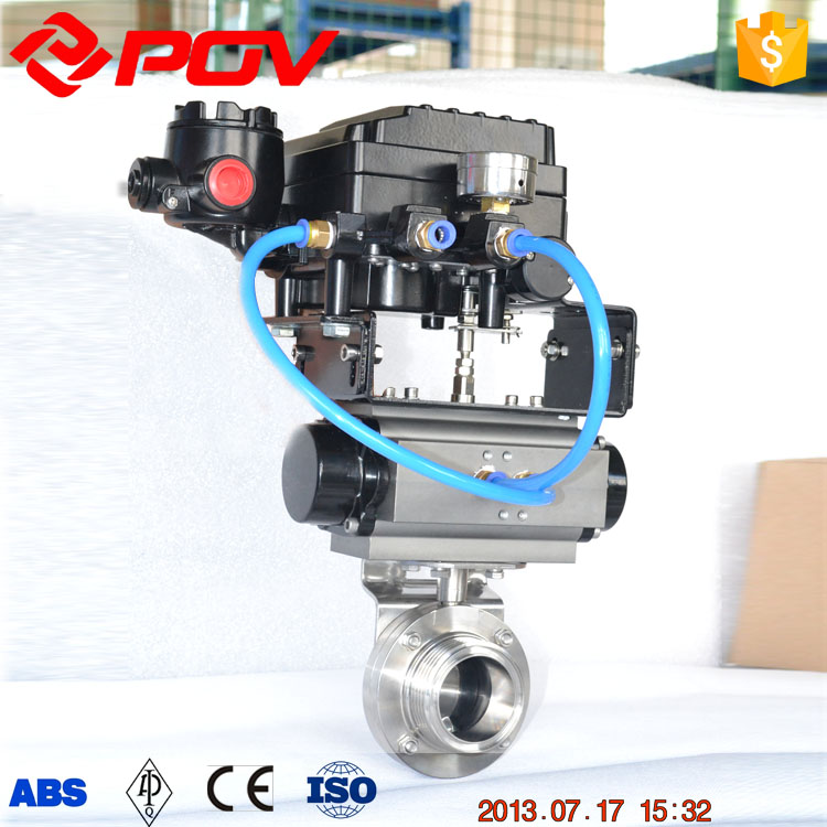 clamp type sanitary air butterfly valve silicon rubber seal pneumatic operated