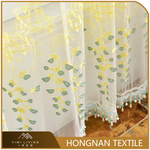Wholesale custom soft window embroidered sheer fancy curtain