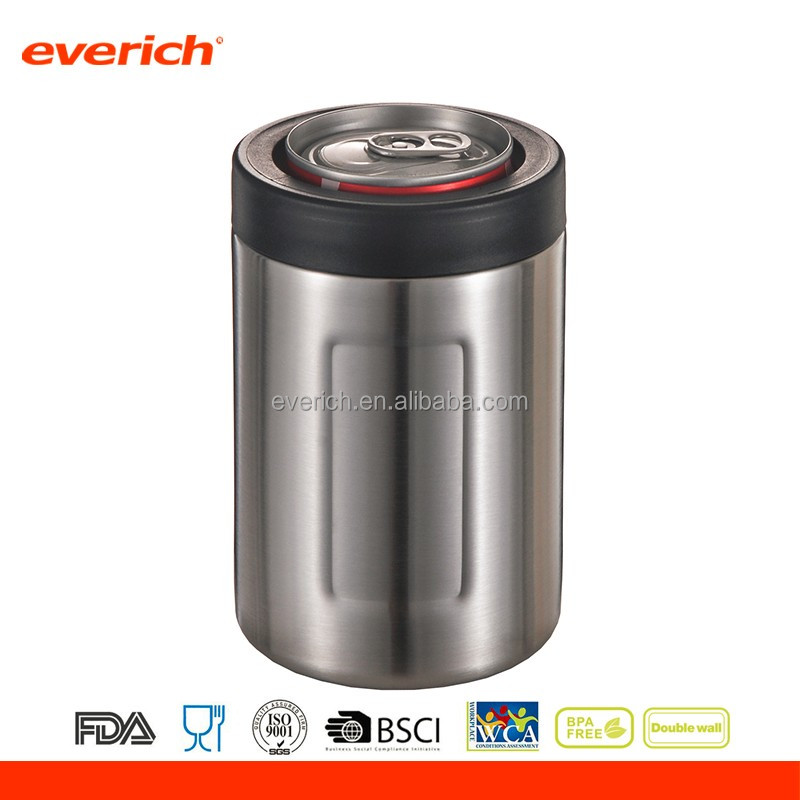 Everich new style stainless steel vacuum thermos beer can shaped cooler