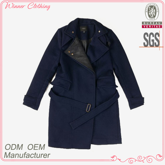 Ladies' fashion grey polyester lining self belt nice and cool high quality direct manufacturer camouflage coats