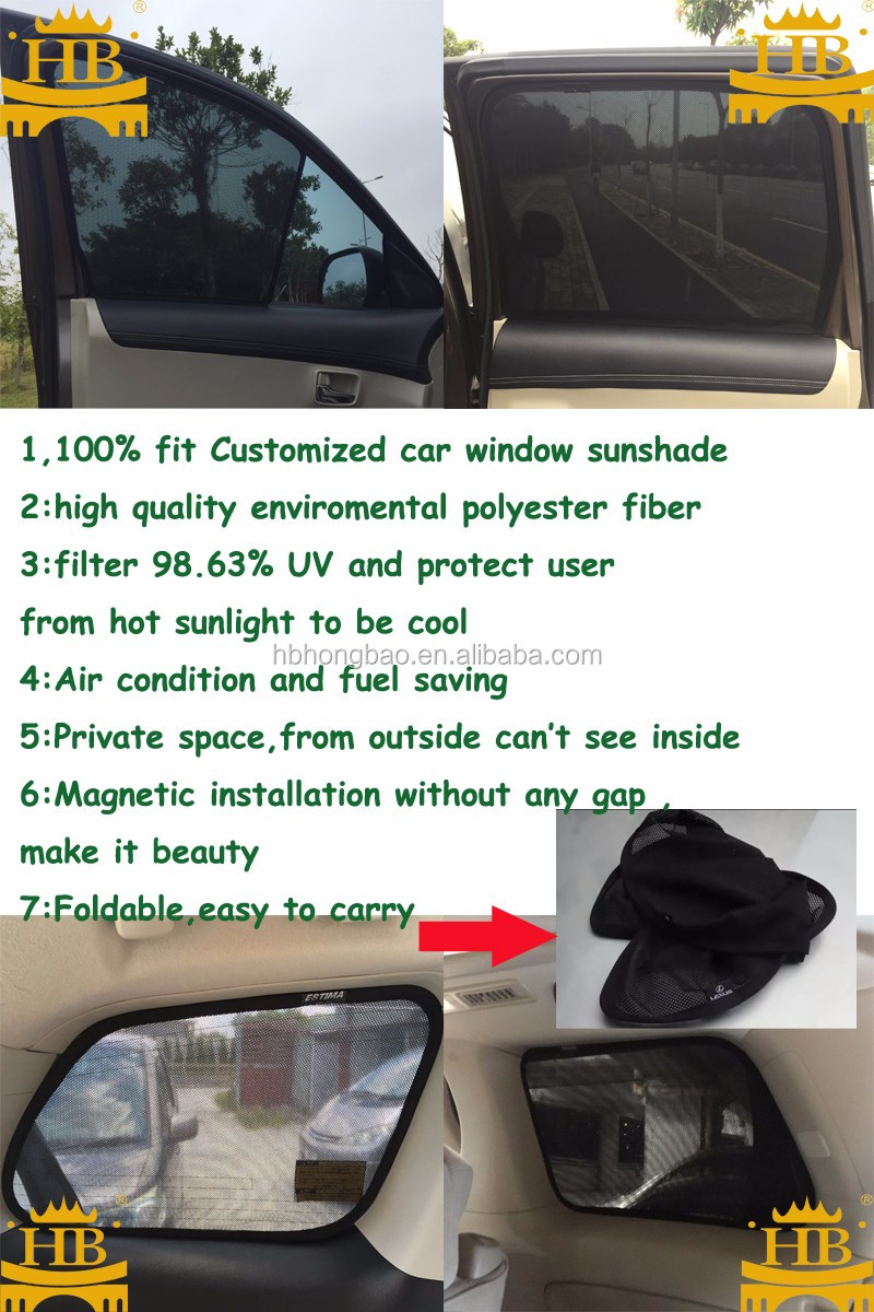 Magnets customized fit out of UV car window sunshade