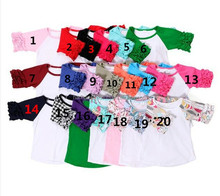 half ruffled raglan children shirts girls wholesale t-shirts baby t shirts in bulk