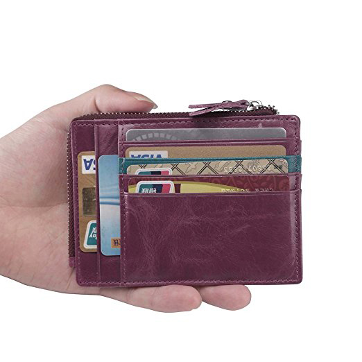 Fashion Card Holder Slim Card Case ,Genuine Leather Money Clip Front Pocket Wallet with Coin Pouch