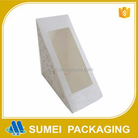 2015 new customized triangle cake paper box packaging with windows