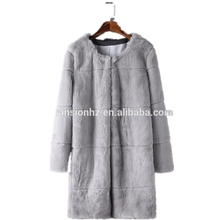 ladies autumn winter long faux fur O-neck coat