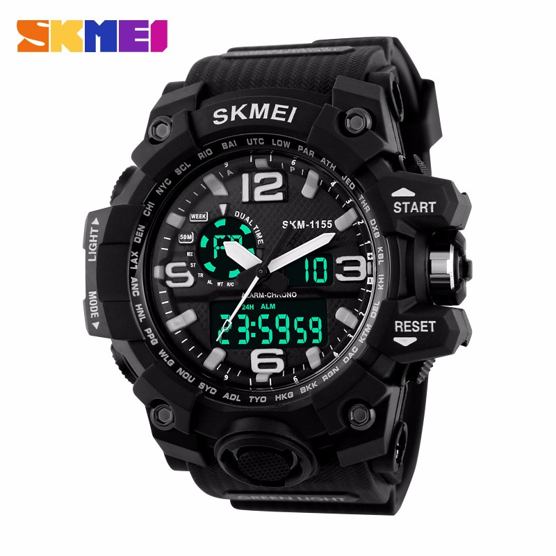 sk1155 SKMEI Large Dial Shock Outdoor Sports Watches Men Digital LED 50M Waterproof Military Army Watch Alarm Wristwatches