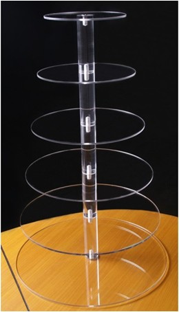 6 Tier Acrylic Cupcake Stand - Holds 65 Cupcakes