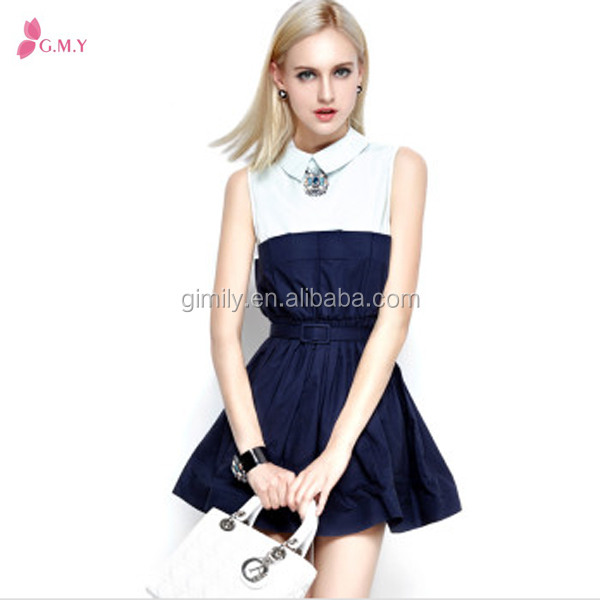 new model casual ladies sleeveless and polo neck swing dresses