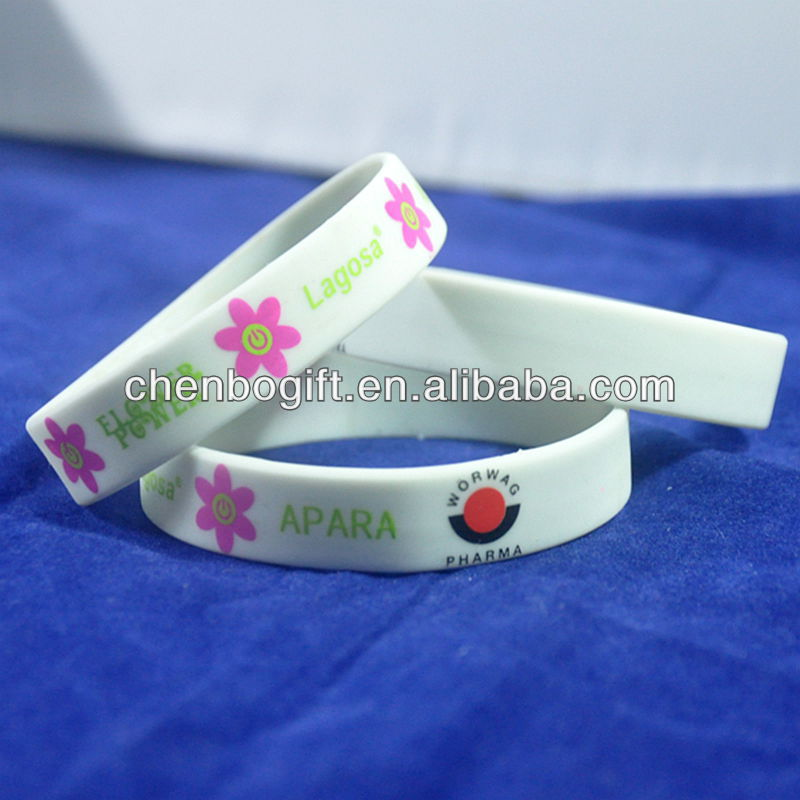 Personalized silicone bracelets , cheap rubber silicone wrist bands , screen printing silicone rubber band