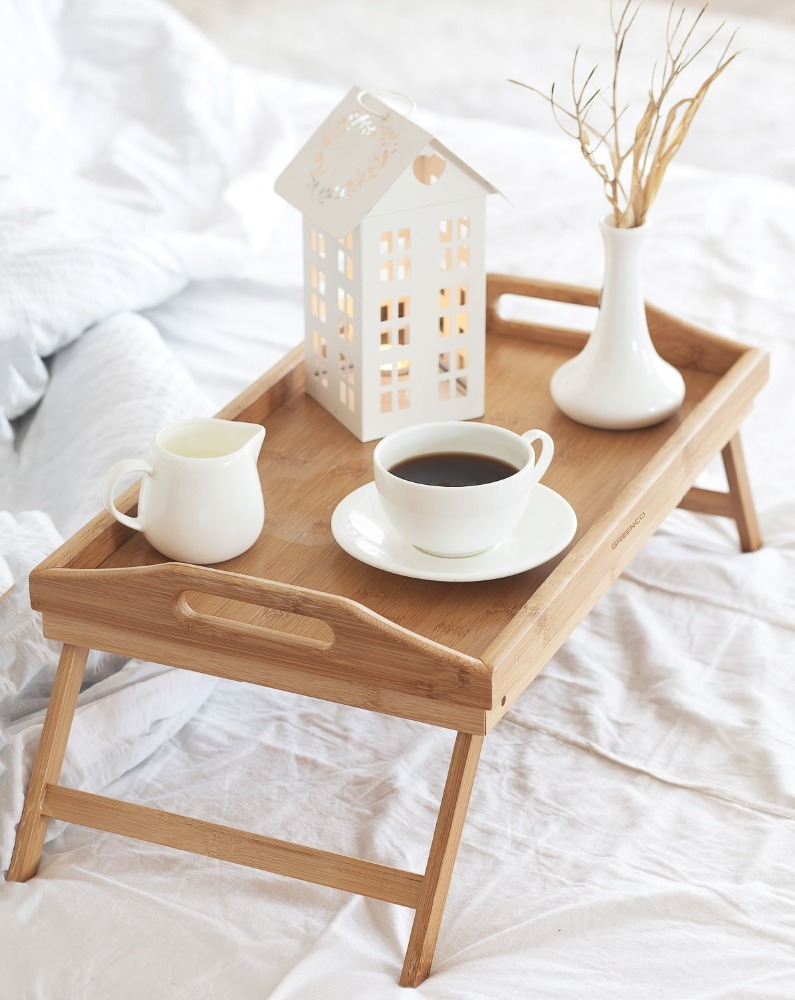 OEM wooden and bamboo breakfast serving tray bed tray