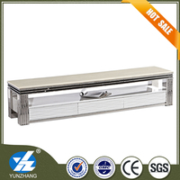 stainless steel rectangle white marble tv cabinet