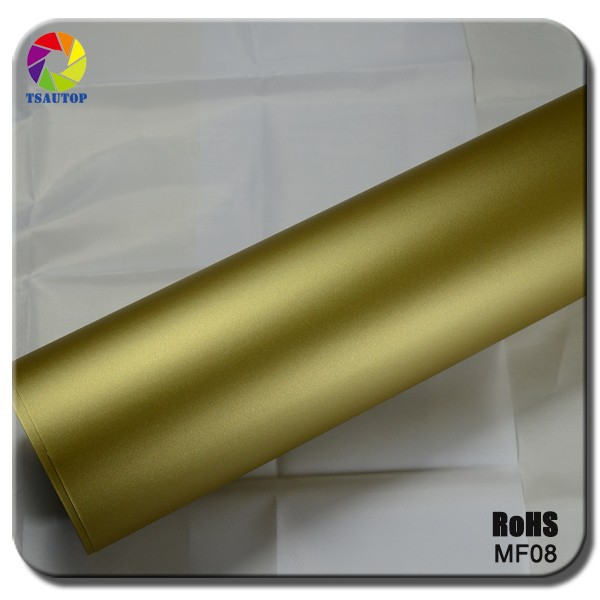 TSAUTOP new style RoHS certificate 1.52*30m air Free bubbles adhesive GOLD matte stickers wrap roll folie