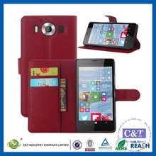 C&T Hot sale mobile phone accessory pu magnetic leather flip cover for microsoft lumia 950 case