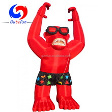 2018 popular red large inflatable gorilla with shorts for advertisement