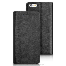 Litchi genuine Strong Metal Plate leather For iphone6 4.7inch Case with stand support