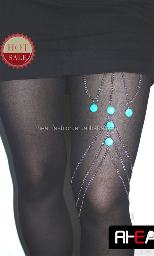 wholesale fashion body leg 5 turquoise stone chain necklace jewelry