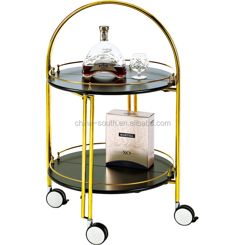 hotel wine serving trolley cart with wheels
