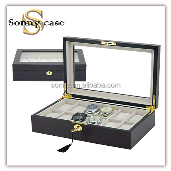 12 Slots Ebony Wooden Men's Watch Box Available in Stock