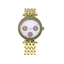 2017 Luxury Fashion Gold Plated Stainless Steel Back Stone Case Japan Movt Quartz Quality Wrist Watch