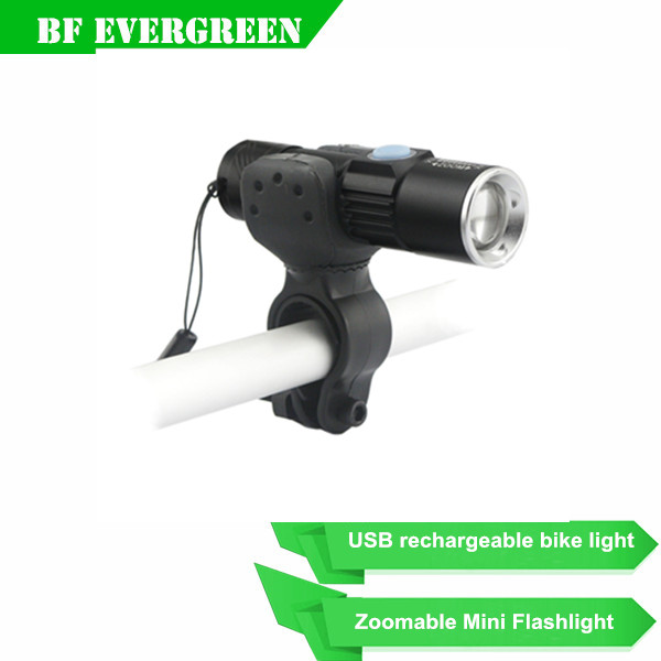Bike accessories Q5 USB rechargeable portable led bicycle flashlight