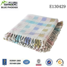 BLUE PHOENIX super soft woven twill colorful checked pure wool kids blanket