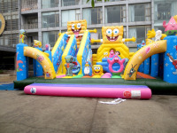 Best selling Cartoon Inflatable Moonwalk Bouncer combo for kids