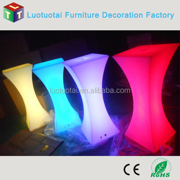 remote control soli plastic led bar furniture/high top led bar cocktail table