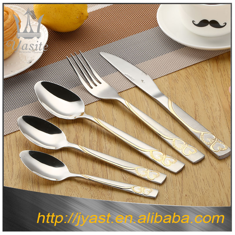 Customized gold flatware 18/10 stainless steel cutlery set