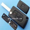 New replacement Peugeot 407 307 308 408 3 button remote key shell with light button with groove blade and battery place(CE0536)
