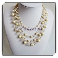 Multi Rows Pearl Crystal Beads Neckalce Fashion Jewelry Vendors