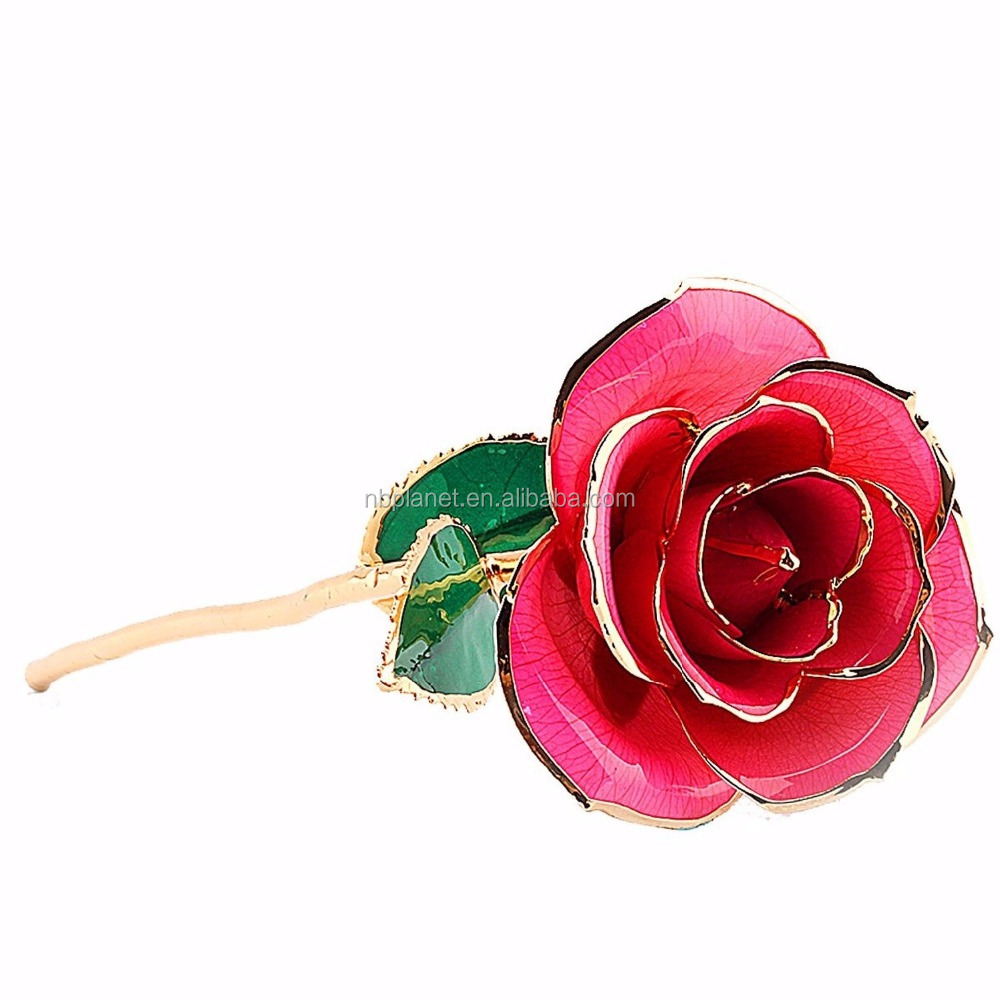 24K gold dipped plated trimmed real flower rose decorative