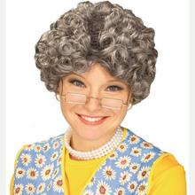 Funny play for party costume old lady wig grey granny wig
