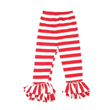 Hot sale popular girls stripe ruffle pants baby ruffle pants