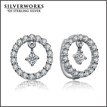 2017 Wholesale New Product Silver 925 Round Shape Pave Setting Earings For Women