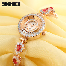 copper material Luxury fashion jewelry lady watch with Rhinestone rose gold color