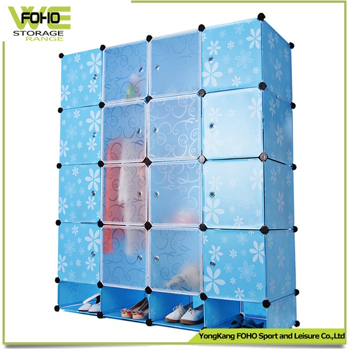 FH-AL0960-16 plastic foldable wardrobe with shoe cabinets