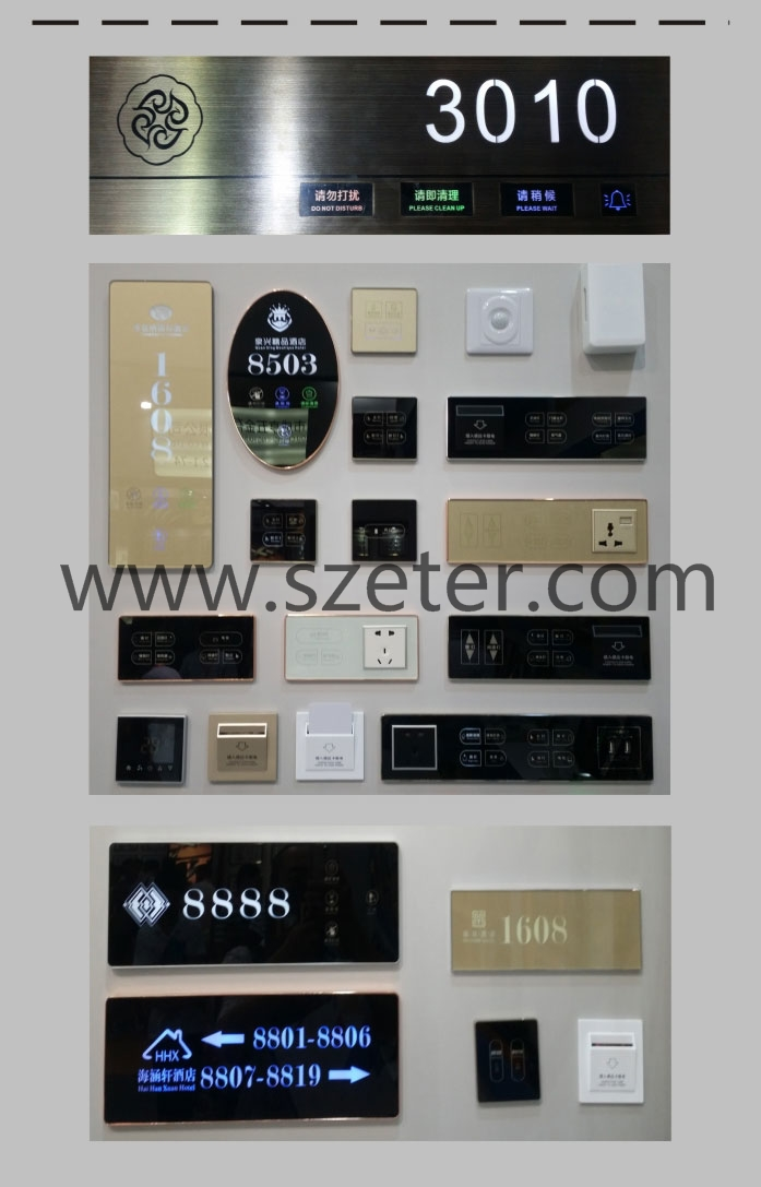 LED Wireless Touch Screen Hotel Bell DND Switch with Display Room Number Sign