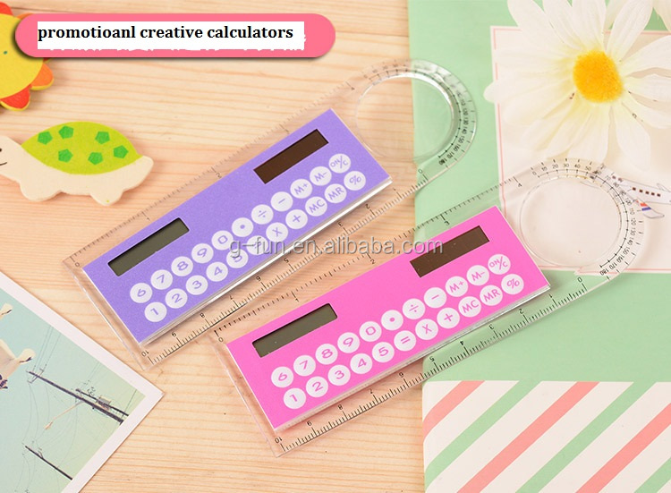 Creative Styling Ruler Plastic Calculator 8-bit Display Mini-count Multi-function Calculator Student Stationery 2016 Promotinal