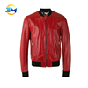 Customized fashion design breathable red leather jacket with RIB collar and cuffs