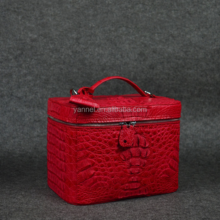designer crocodile cosmetic bagexotic skin cosmetic case leather pouch women makeup bag