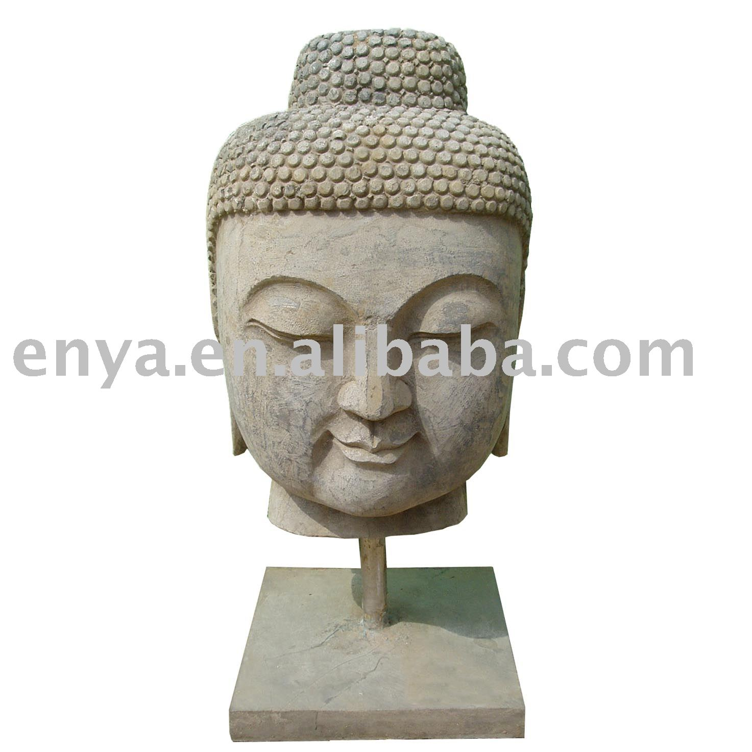 Buddha Head Statue, Stone Carving Sculpture, religious figure
