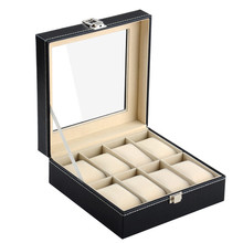 cheap price wholesale wooden cover leather 8pcs watch display box with glass Windows W44